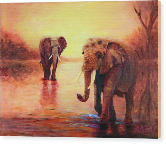 African Elephants At Sunset In The Serengeti Wood Print