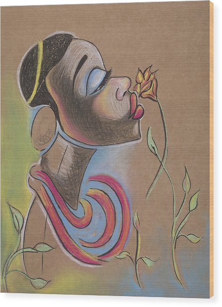 African Girl Wood Print by Chibuzor Ejims