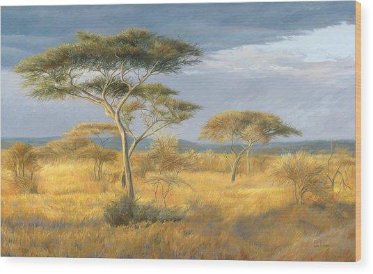 African Landscape Wood Print