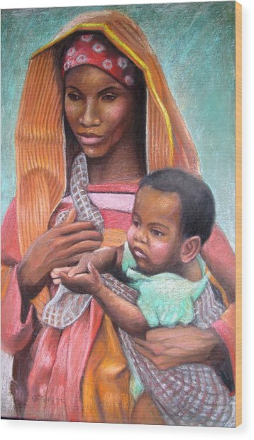 African Mother Wood Print