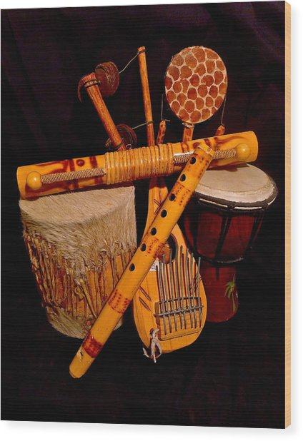 African Musical Instruments Wood Print
