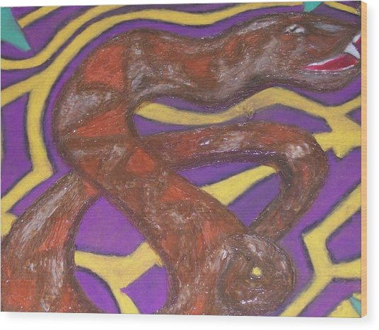 African Snake Diety Wood Print