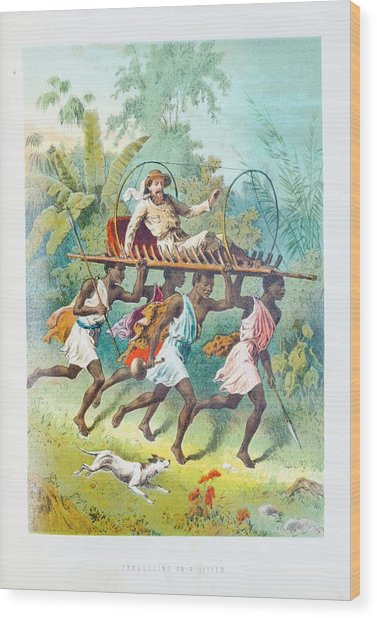 African Travel On A Litter Wood Print