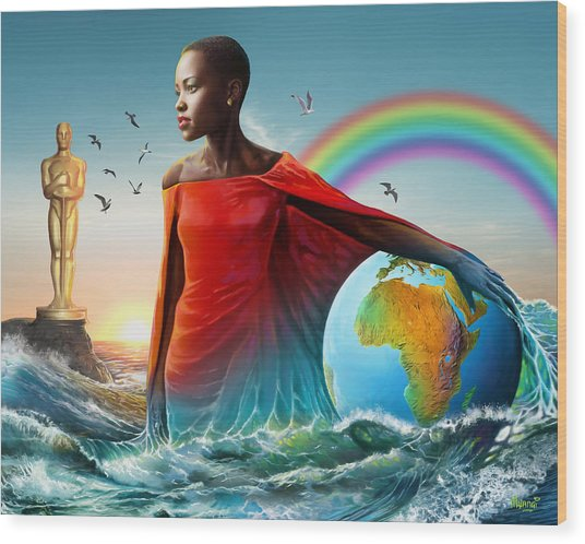 The Lupita Tsunami Wood Print