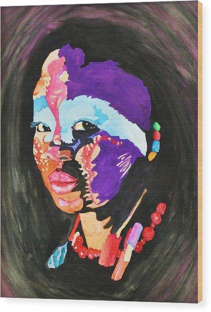 African Woman Wood Print by Glenn Calloway