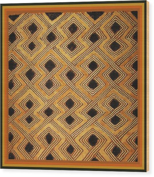 African Zaire Congo Kuba Textile Wood Print
