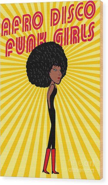 Afro Disco Girls Wood Print