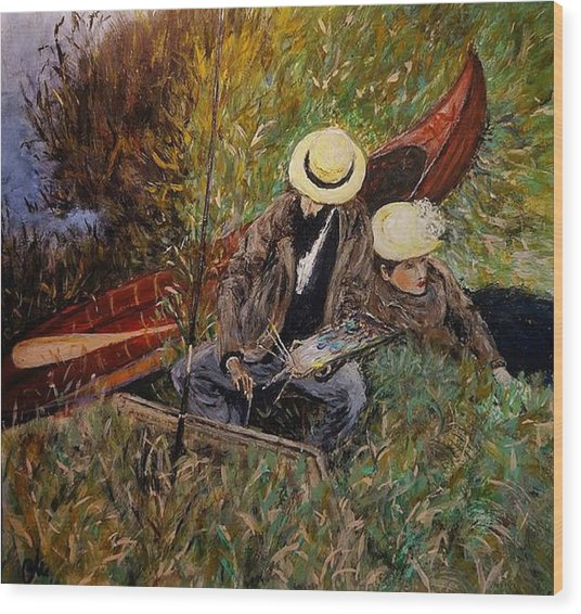 After John Singer Sargent- Paul Cesar Helleu Sketching With His Wife 1889 Wood Print