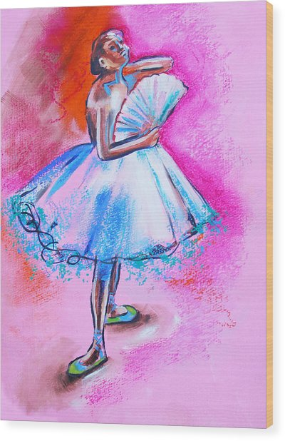After Master Degas Ballerina With Fan Wood Print by Susi Franco