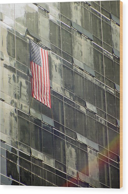 After Sep. 11 Flag On Millennium Hotel Wood Print