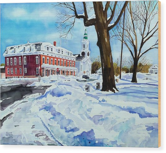 After The Grafton Common Snow Wood Print by Scott Nelson