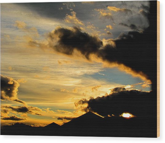 After The Rain Came The Sunset. Wood Print by Joyce Woodhouse