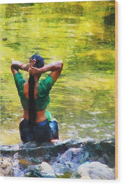After The River Bathing. Indian Woman. Impressionism Wood Print