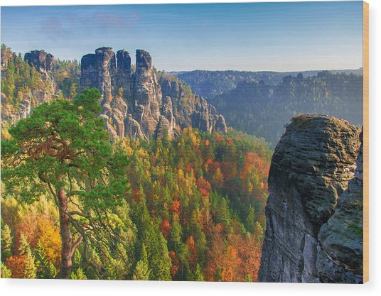 After The Sunrise On The Bastei Wood Print