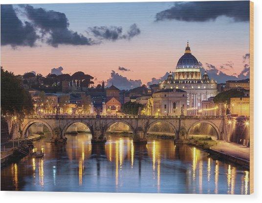 Afterglow, St Peters Basilica, Rome Wood Print by Joe Daniel Price