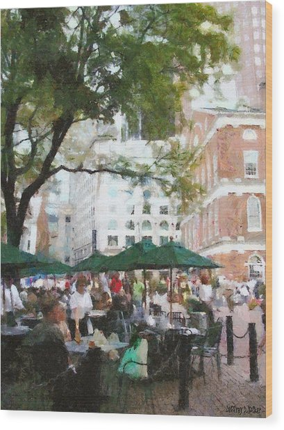Afternoon At Faneuil Hall Wood Print