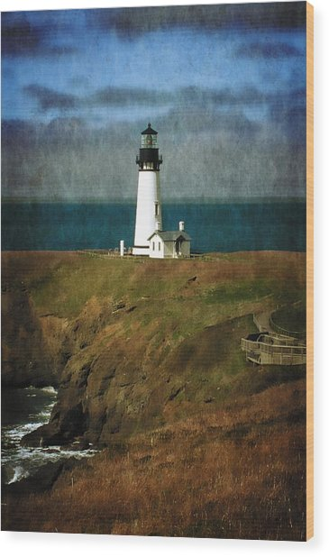 Afternoon At The Yaquina Head Lighthouse Wood Print