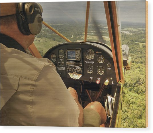 Afternoon In A J3 Cub Wood Print