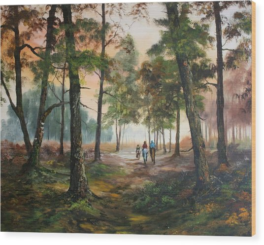 Afternoon Ride Through The Forest Wood Print