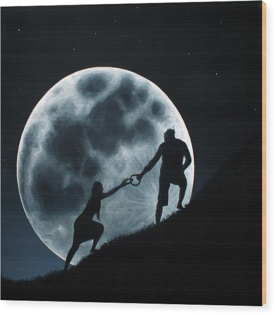 Agape Under A Full Moon Rising Wood Print