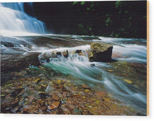 Agate Falls In U.p. Wood Print