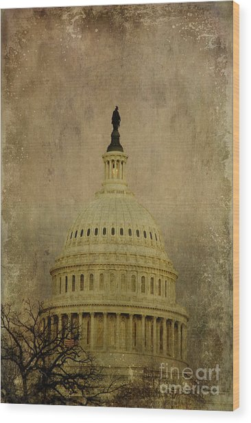 Aged Capitol Dome Wood Print