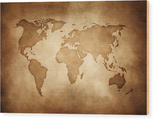 Aged Style World Map, Paper Texture Background Wood Print by Sankai