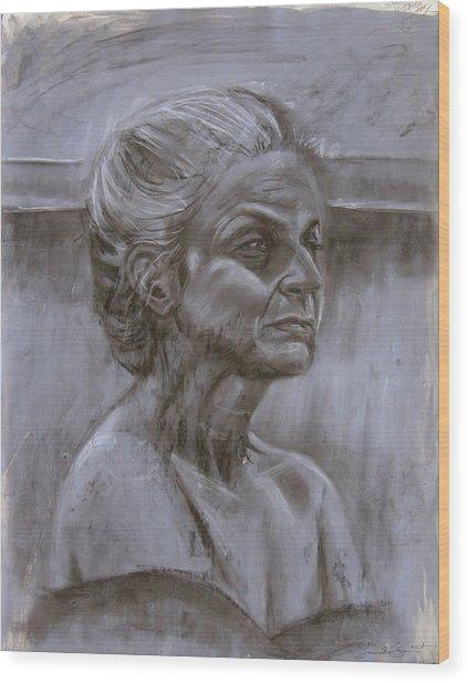 Aged Woman Wood Print