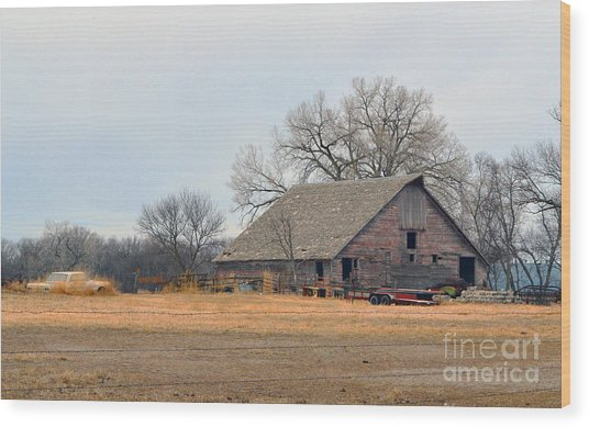 Aging Red Barn Wood Print