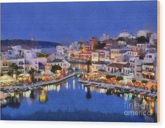 Painting Of Agios Nikolaos City Wood Print