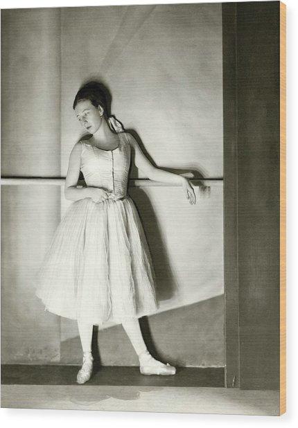 Agnes De Mille Resting Her Arm On A Balance Bar Wood Print