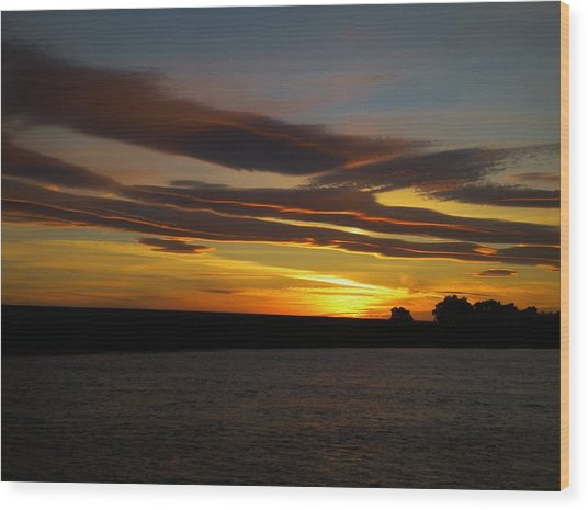 Air Brushed River Sunset Wood Print