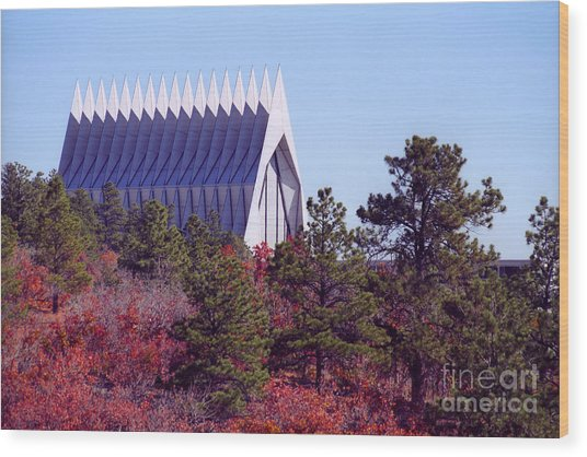 Air Force Academy Chapel In Autumn Wood Print