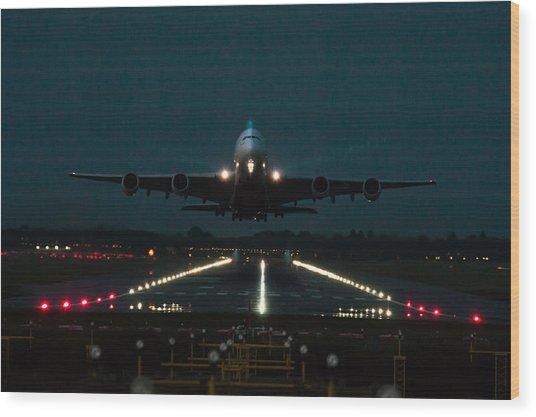 Airbus A380 Take-off At Dusk Wood Print