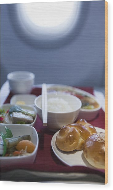 Airline Meal, Business Class Wood Print by Shui Ta Shan
