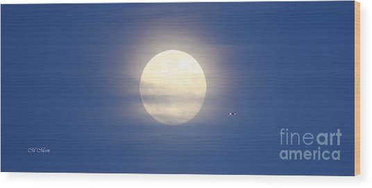 Airplane Flying Into Full Moon Wood Print