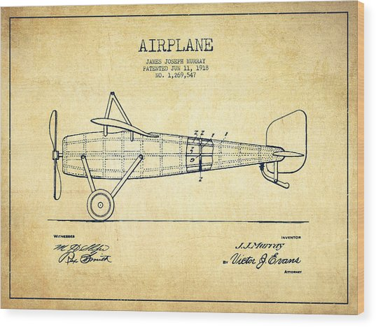 Airplane Patent Drawing From 1918 - Vintage Wood Print