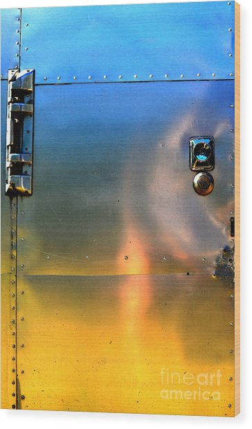 Airstream Sunset Wood Print