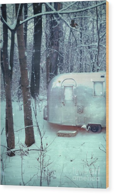 Airstream Trailer In Snowy Woods Wood Print