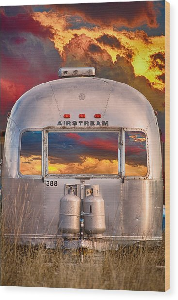 Airstream Travel Trailer Camping Sunset Window View Wood Print