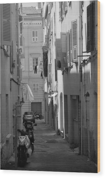Ajaccio Back Alley Wood Print
