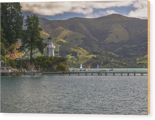 Akaroa Lighthouse Wood Print