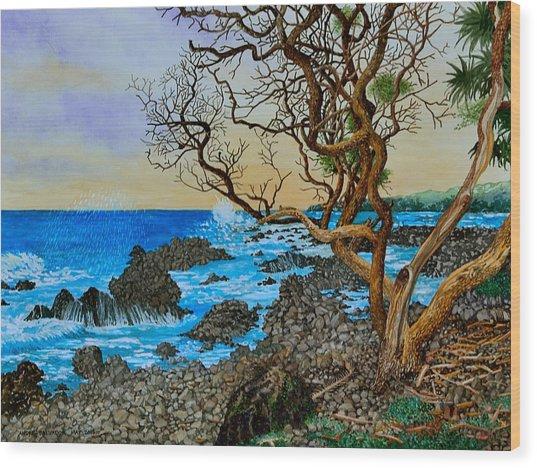 Akini Kinau Shoreline Maui Wood Print