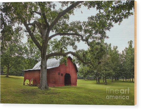Alabama Red Barn  Wood Print