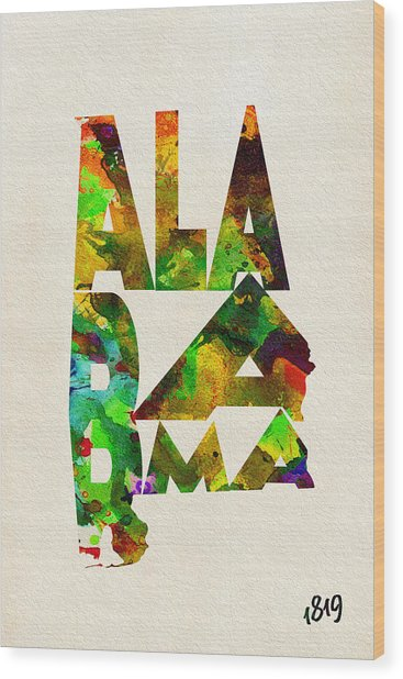 Alabama Typographic Watercolor Map Wood Print