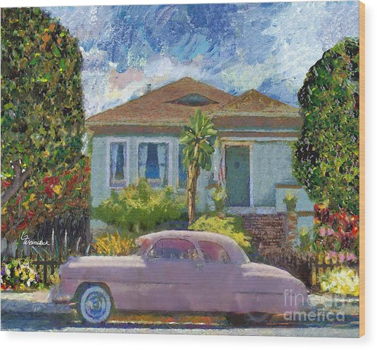 Alameda 1908 House 1950 Pink Dodge Wood Print