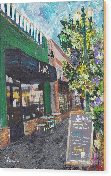Alameda Julie's Coffee N Tea Garden Wood Print