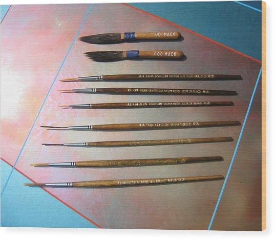 Alan Johnson Signature Brushes  Wood Print