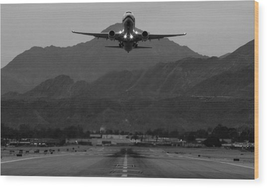 Alaska Airlines Palm Springs Takeoff Wood Print