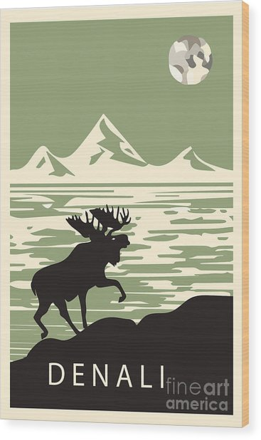 Alaska Denali National Park Poster Wood Print